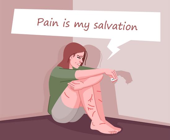 Self mutilation addiction Illustration