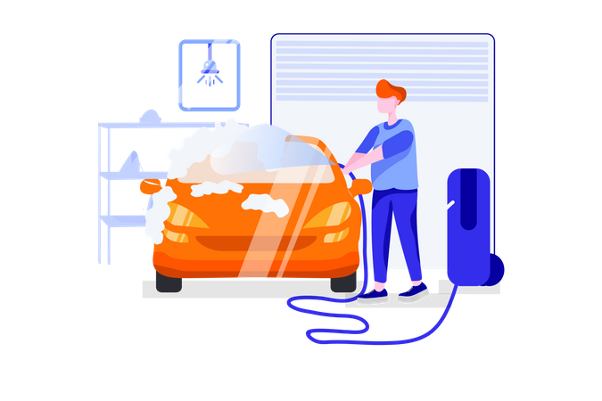 Self service car wash Illustration