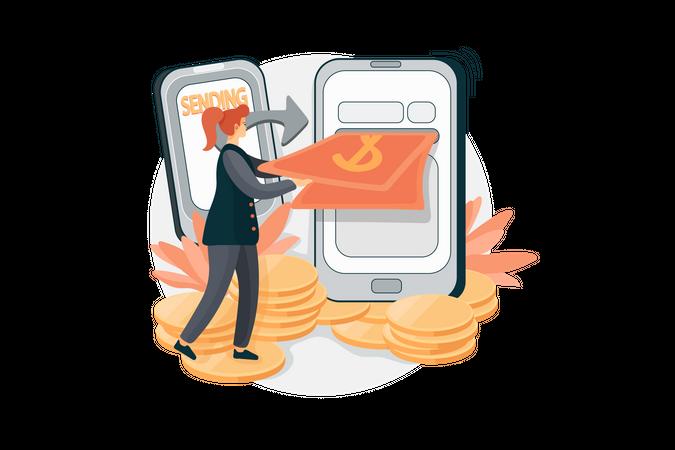 Send Money Online Illustration
