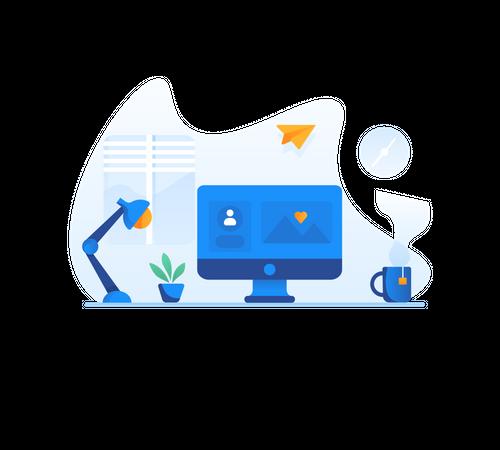 Sending online message Illustration