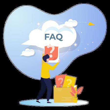 Sending online question for FAQ Illustration