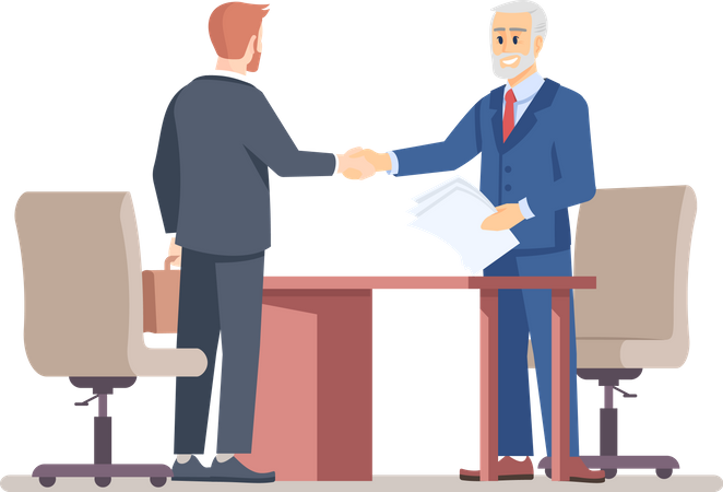Senior boss hiring employee Illustration