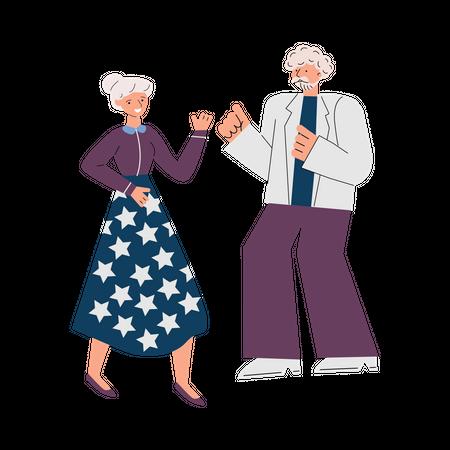 Senior couple Dancing Illustration