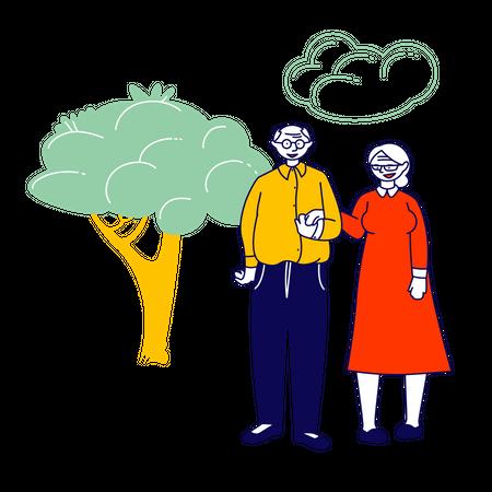 Senior Couple Holding Hands Stand Together on Nature Landscape Background Illustration