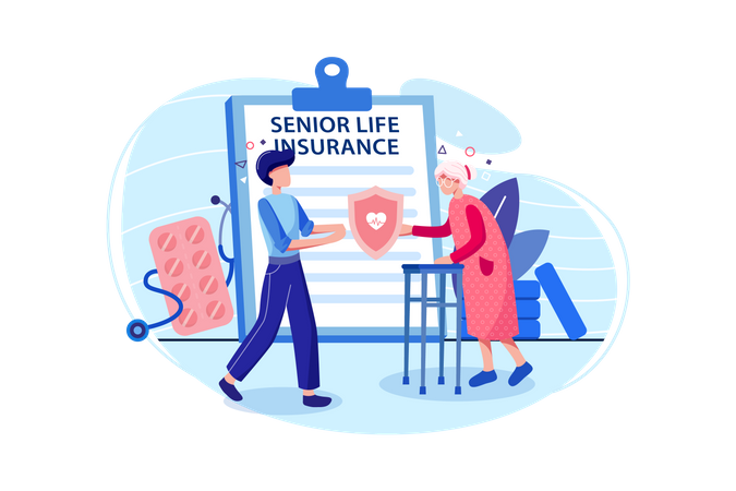 Senior Life Insurance concept Illustration