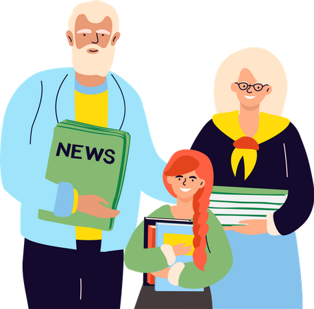 Senior man and woman with a granddaughter holding recyclables, papers, old books, newspapers Illustration
