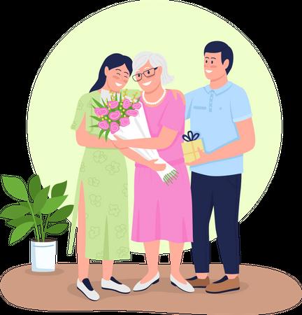 Senior mother with adult children Illustration