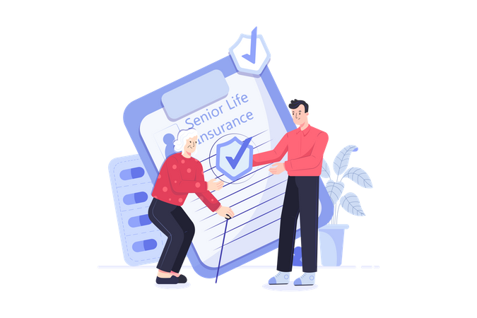 Senior person Insurance Illustration