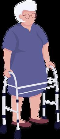 Senior woman using walker Illustration