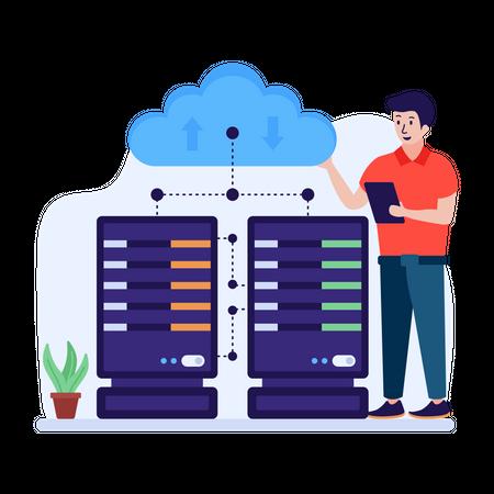 Server hosting Illustration