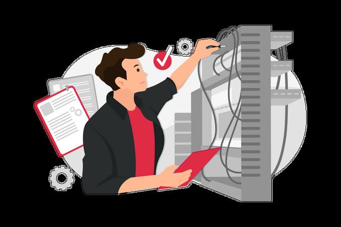 Server technician adjusting wiring Illustration