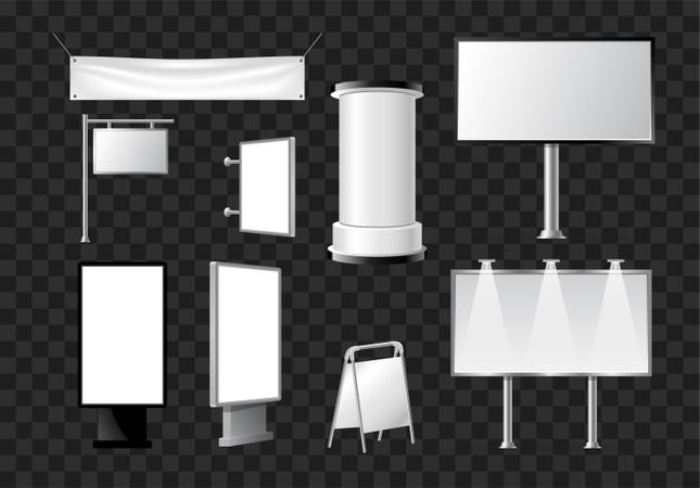 Set Of Advertising Pillars, Columns, Pennants Illustration