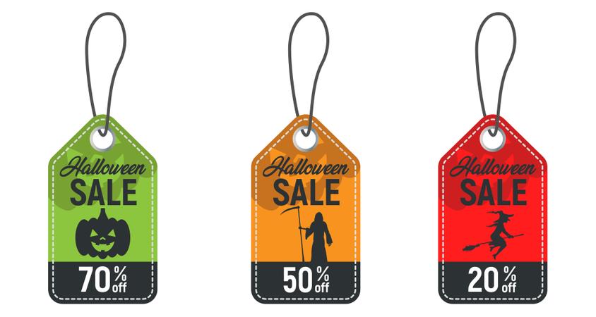 Set Of Halloween Sale Tag Illustration