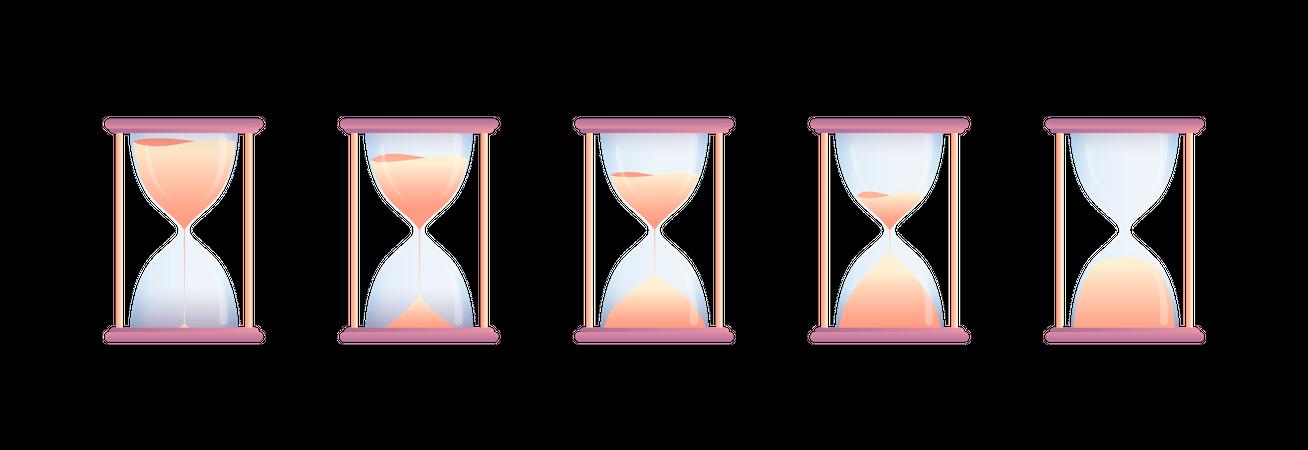 Set of hourglasses Illustration