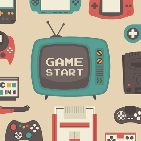 Set Of Retro Game Player And Accessories Illustration