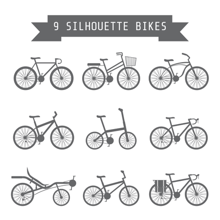 Set Of Silhouette Bicycle Illustration