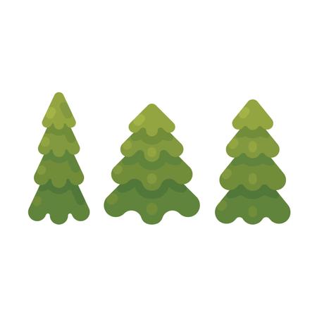 Set Of Three Fir Trees Flat Illustration Illustration