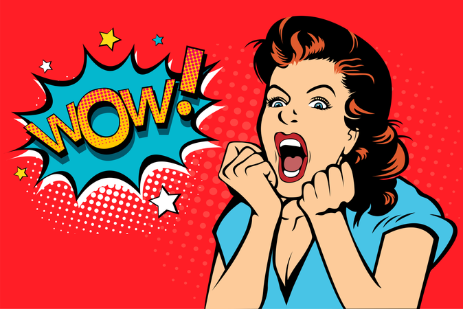 Sexy surprised blonde pop art woman with wide open eyes and mouth and rising hands screaming Illustration