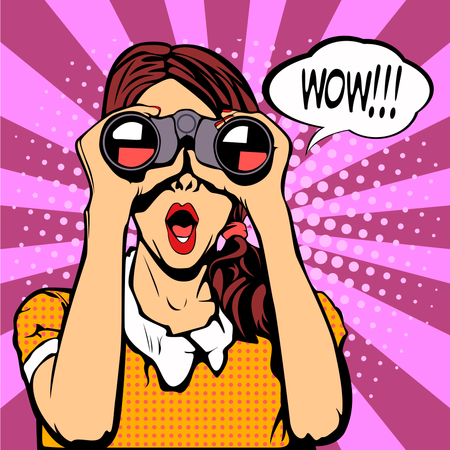 Sexy surprised woman with open mouth Illustration