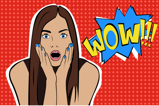 Sexy surprised young caucasian woman with open mouthing glasses and Wow speech bubble Illustration