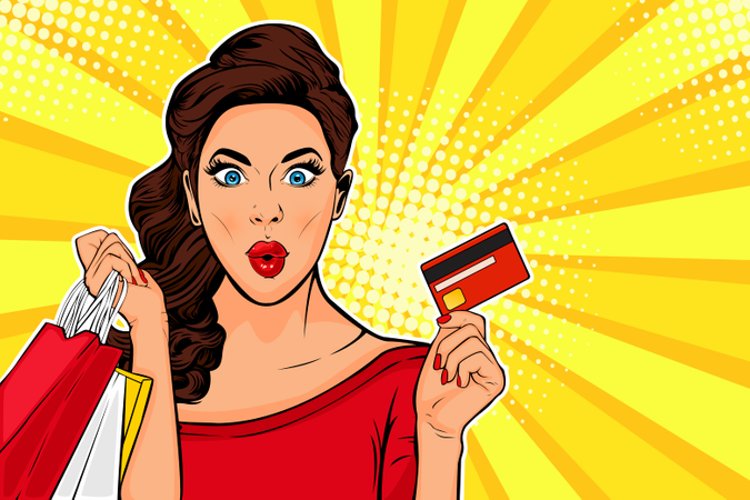 Sexy surprised young woman holding shopping bags and credit card Illustration