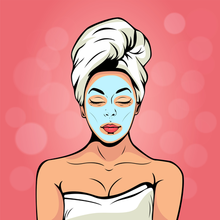 Sexy young woman in bath towel with cosmetic mask on her face. Colorful vector background in pop art retro comic style. Smiling and relaxing female face. Illustration