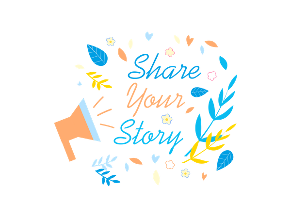 Share Your Story Social Media Promotion Banner Illustration