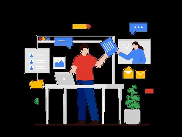 Sharing document via Email Illustration