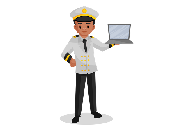 Ship captain holding laptop in hand Illustration