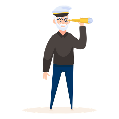 Ship Captain Seeking with telescope Illustration