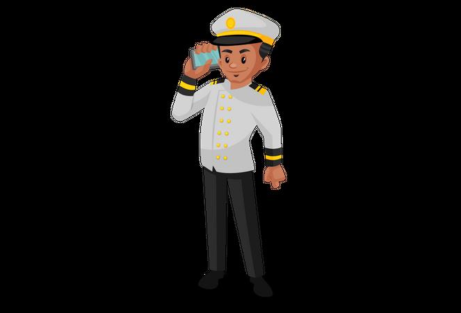 Ship captain talking on phone Illustration