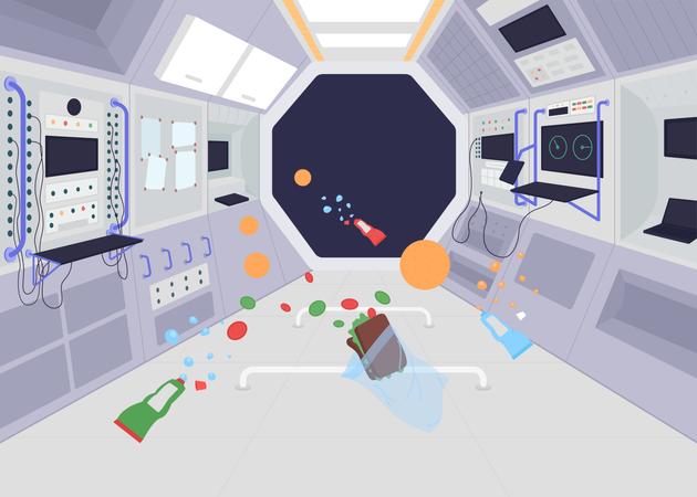 Ship in zero gravity Illustration