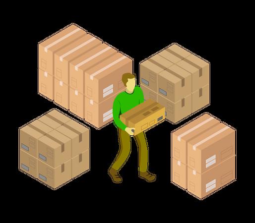 Shipping Boy at warehouse Illustration