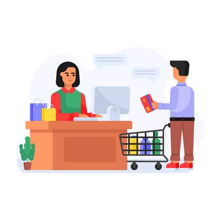 Shipping counter checkout Illustration
