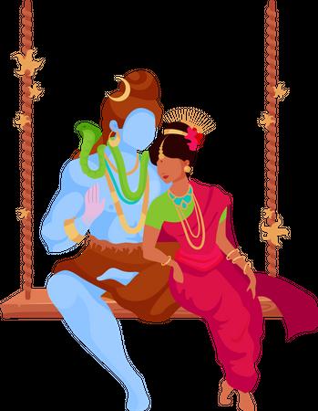 Shiva and Parvati Illustration