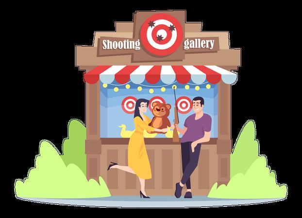 Shooting game in amusement park Illustration