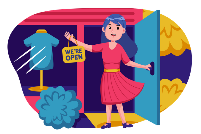 Shop owner announcing store opening Illustration