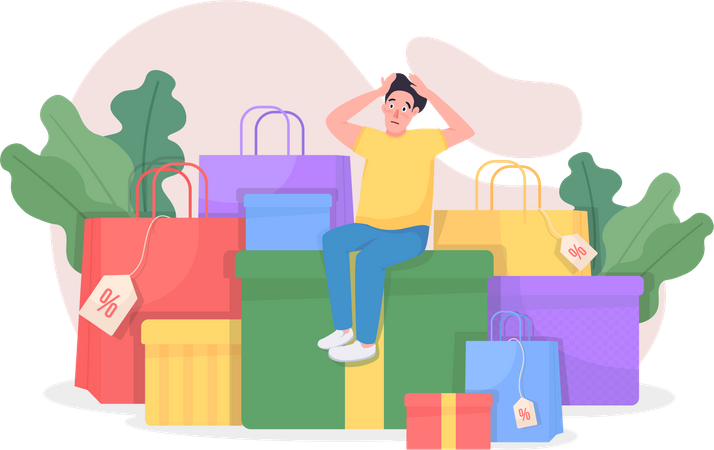 Shopaholic with purchases Illustration