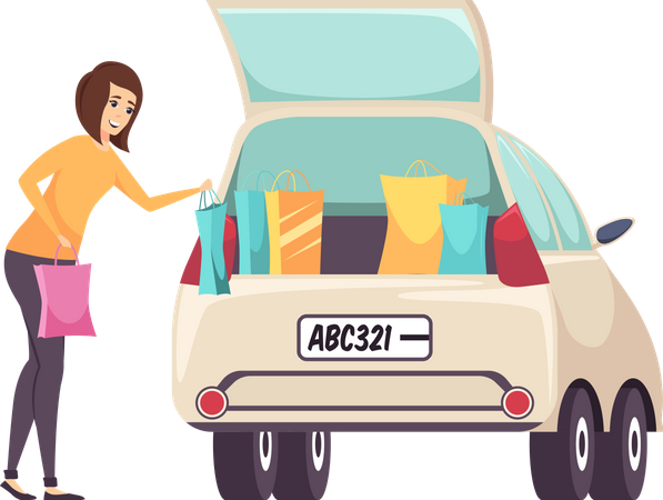 Shopaholic Woman putting Bags in Car Illustration