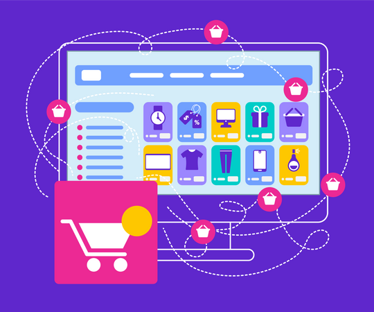 Shopcart Stand at Big Monitor with Internet App Illustration