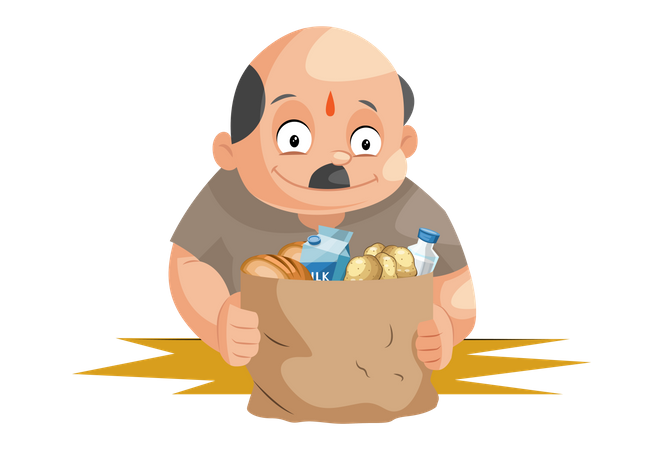 Shopkeeper holding grocery products in hand Illustration