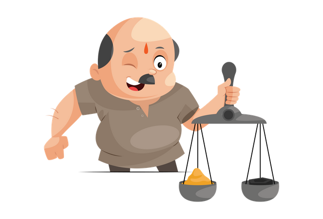 Shopkeeper is holding scales in hand Illustration