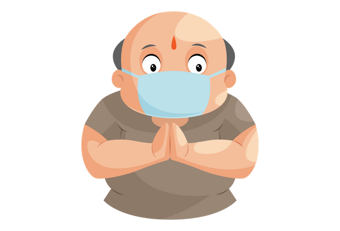 Shopkeeper is standing with greet hand and wearing surgical mask Illustration