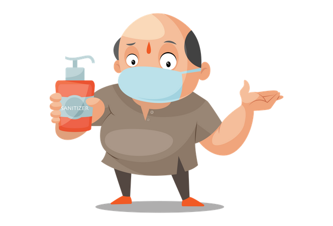 Shopkeeper is wearing surgical mask and holding sanitizer in hand Illustration