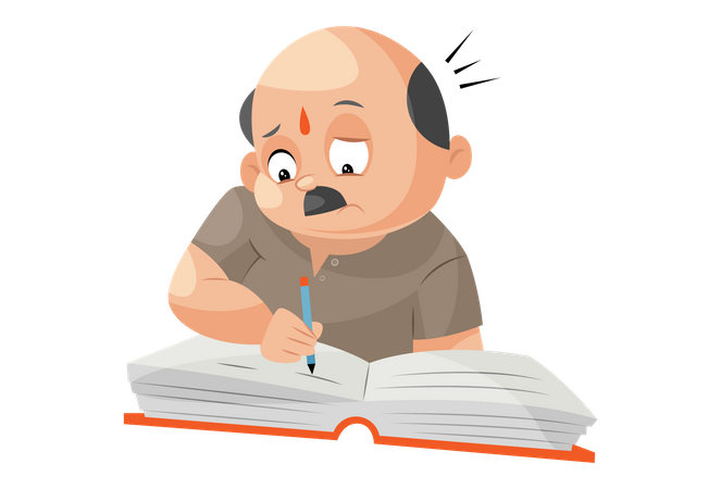 Shopkeeper is writing with pen on notebook Illustration