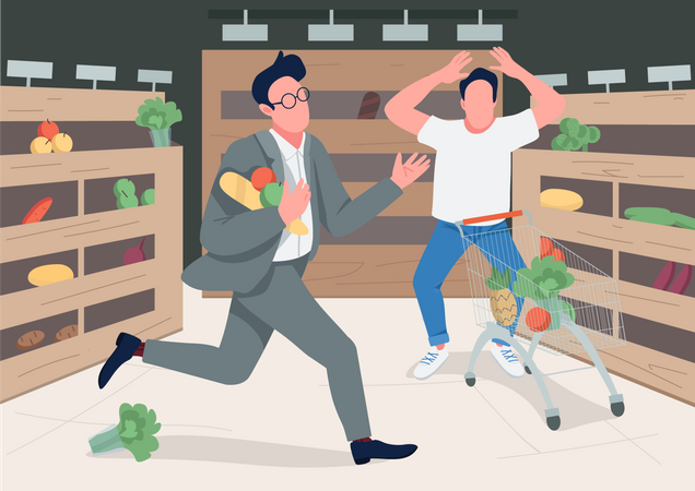 Shoppers in panic Illustration