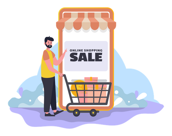 Shopping at an online store Illustration