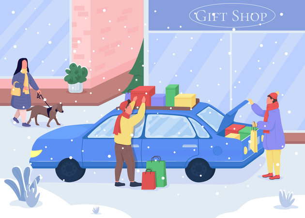Shopping for Christmas gifts Illustration