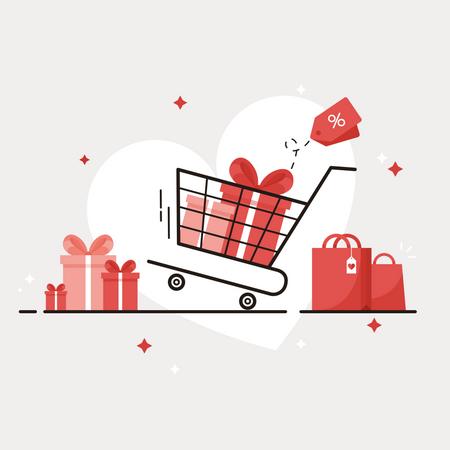 Shopping For Valentine Illustration