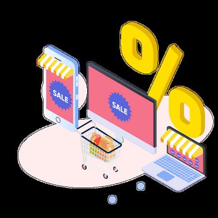 Shopping in online sale Illustration